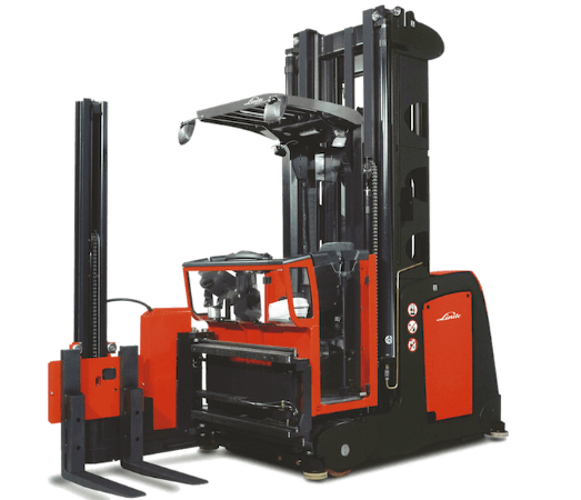 Electric Linde K Series, Turret Forklift with attachments can carry up to 3,306lb